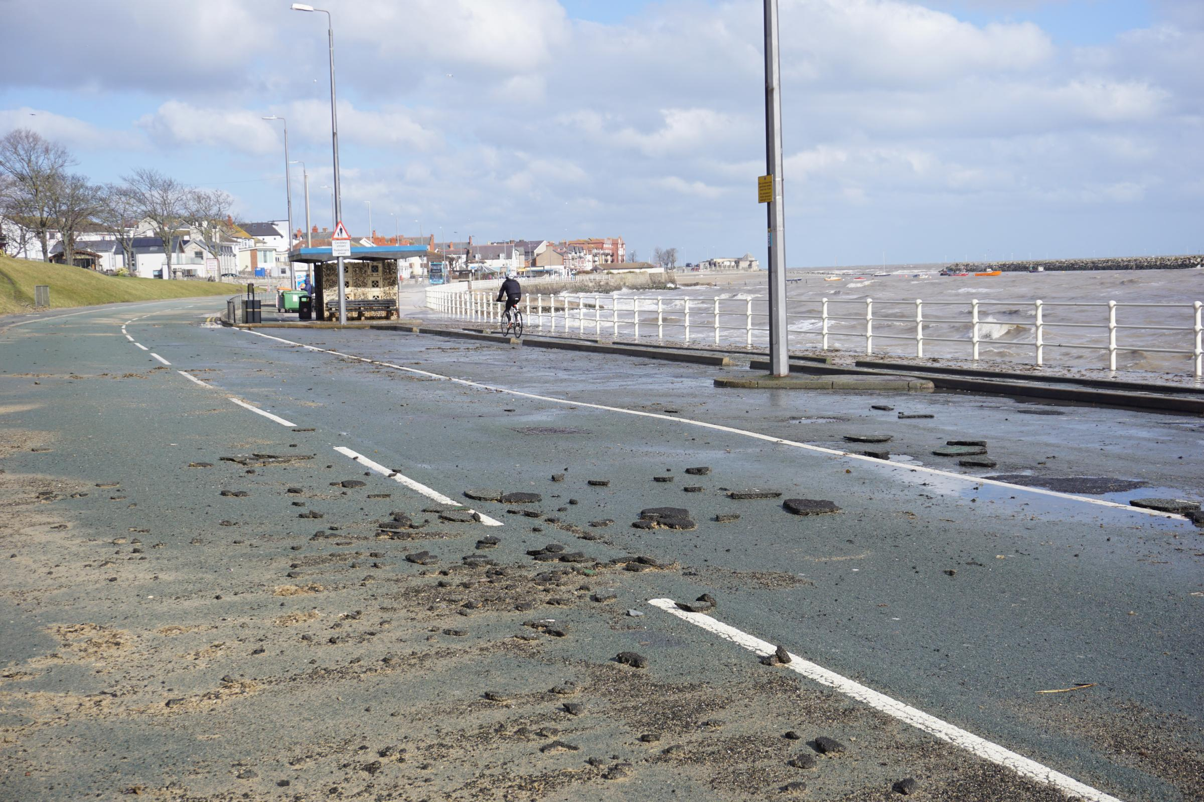 Damage on the West Promenade in Rhos-on-Sea. Picture: Patrick Glover