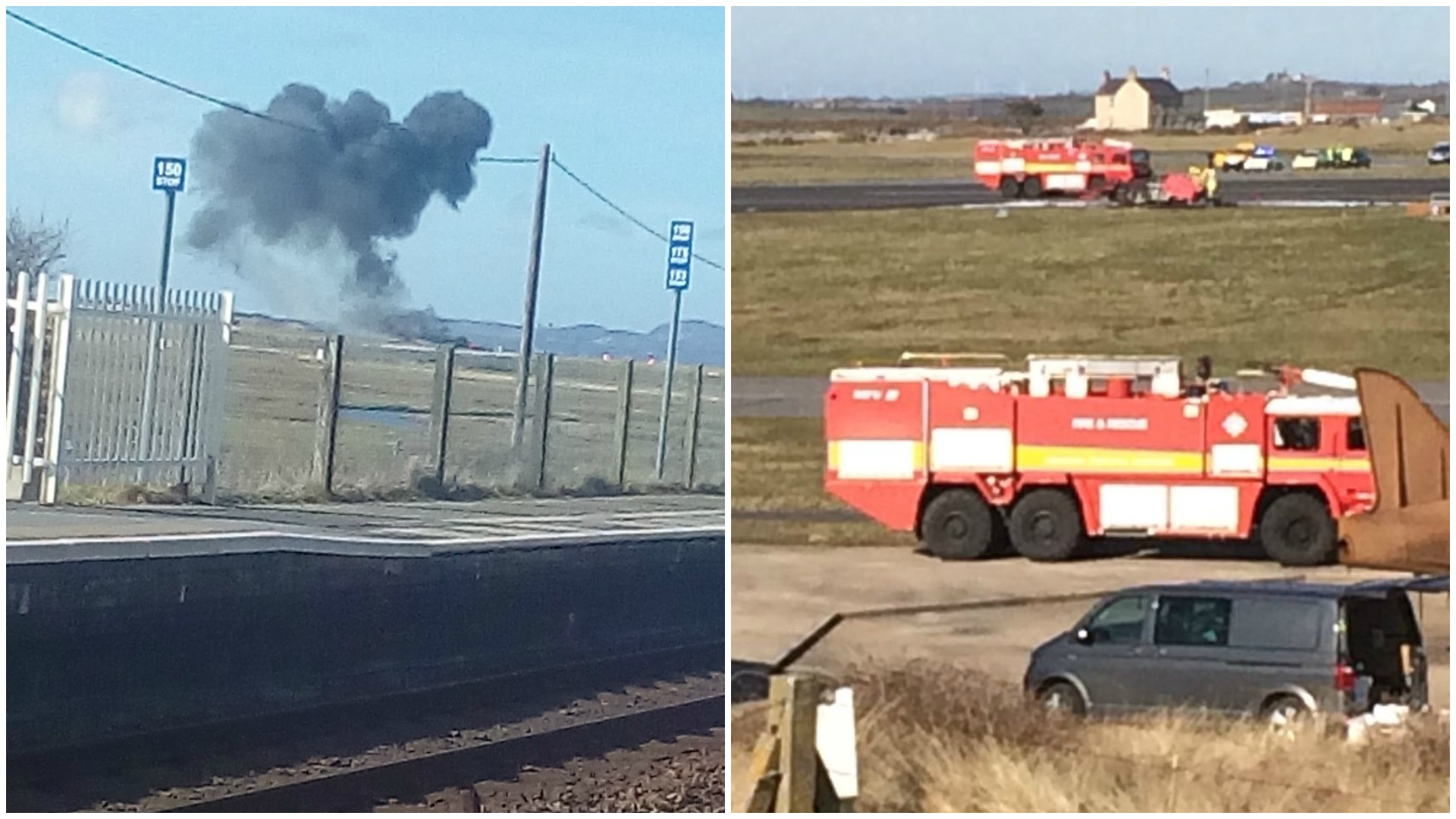 Smoke rising after the Red Arrows jet crashes and, right, emergency services at RAF Valley. Pictures: Sian Rebecca Williams/PA and Kerry Roberts