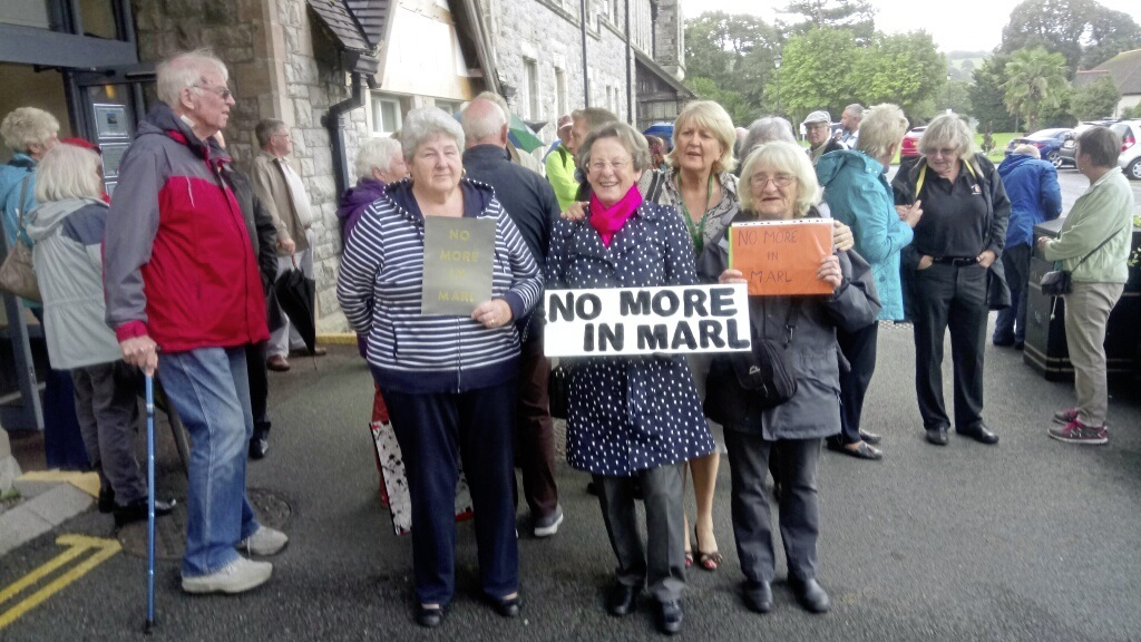 Protestors against the Marl Lane proposals at the original planning hearing