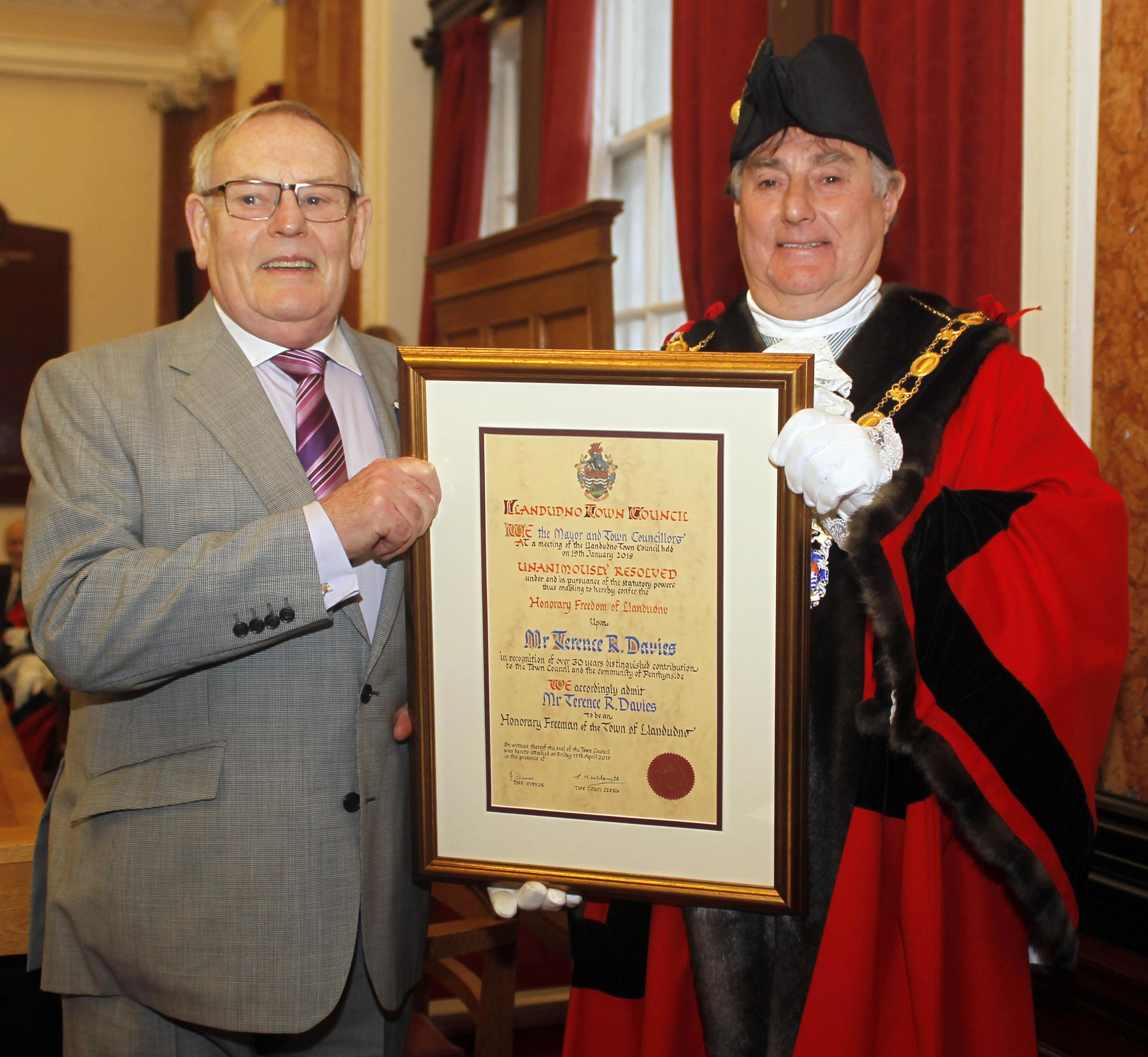 New Llandudno Freeman Terence Richard Davies with the town's Mayor Cllr Francis Davies