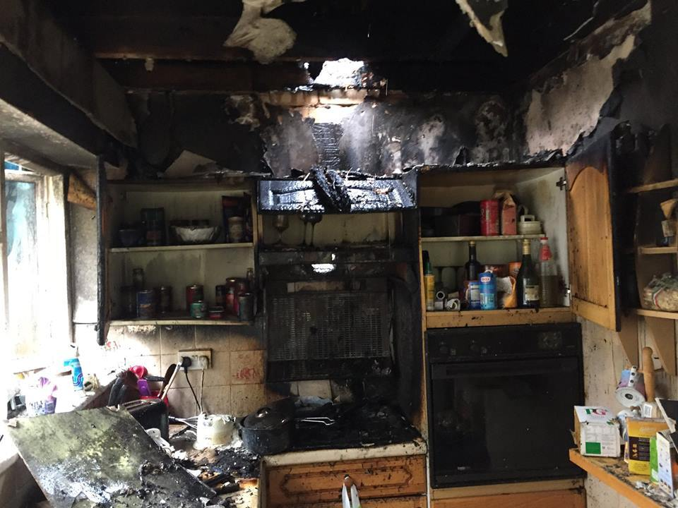 There was severe damage to the kitchen. Picture: North Wales Fire and Rescue Service