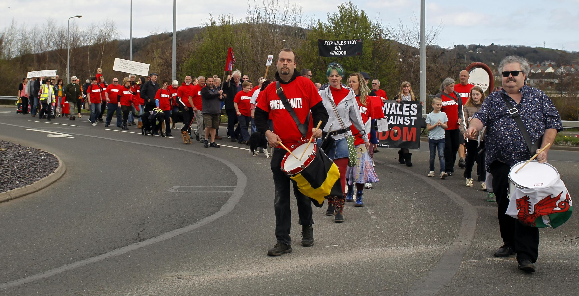 Action from the protest against Kingdom in Llandudno Junction on Saturday. Picture: David Thomas