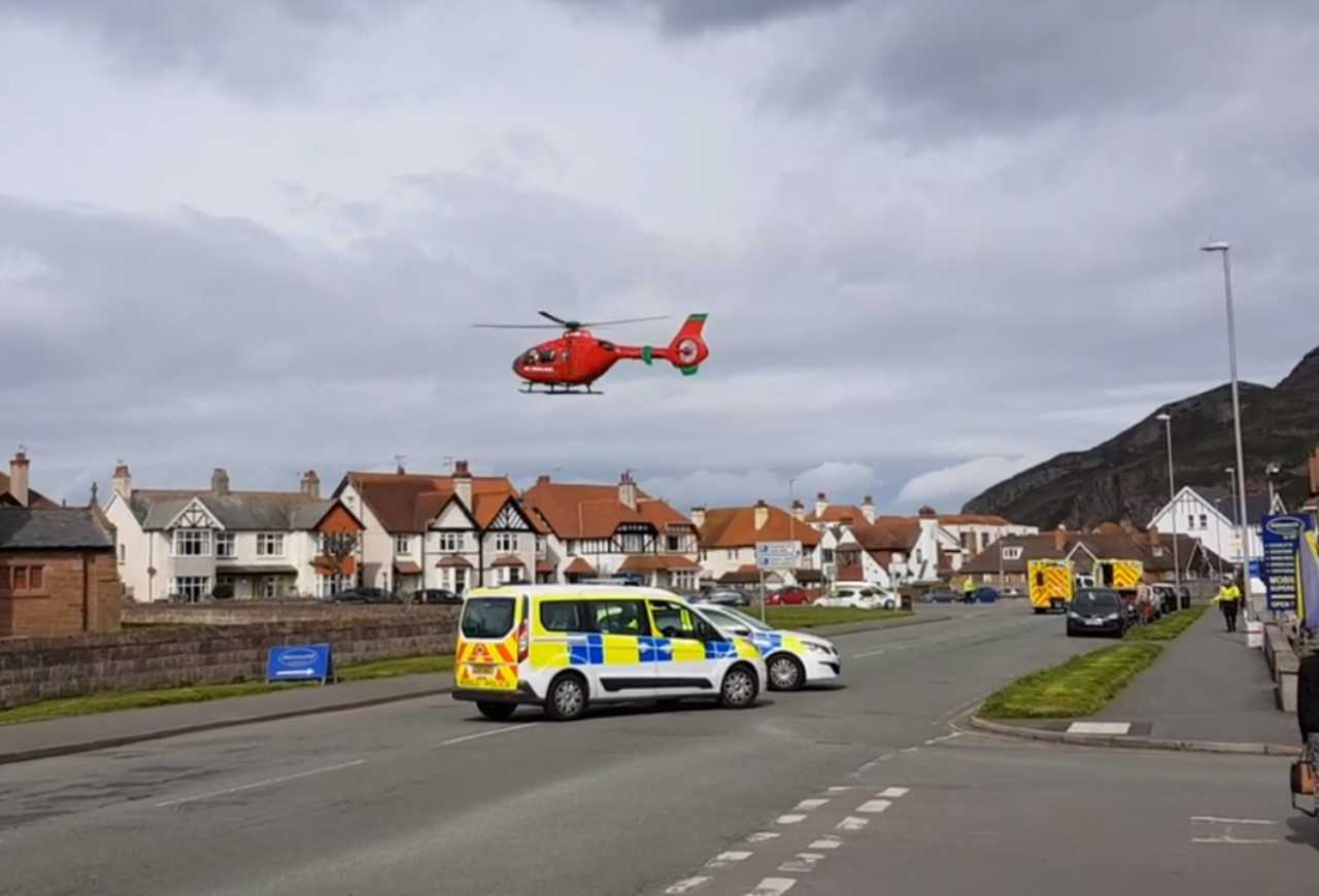 Air ambulance on the scene in Llandudno. Picture and video by Robert Brock