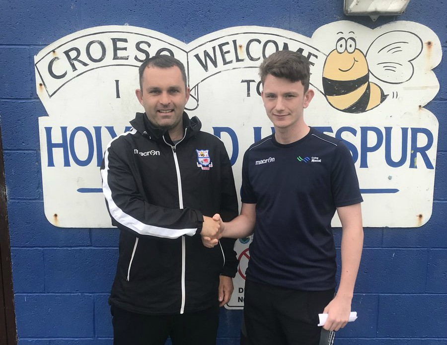 Holyhead Hotspur manager Campbell Harrison with Harry Galeotti