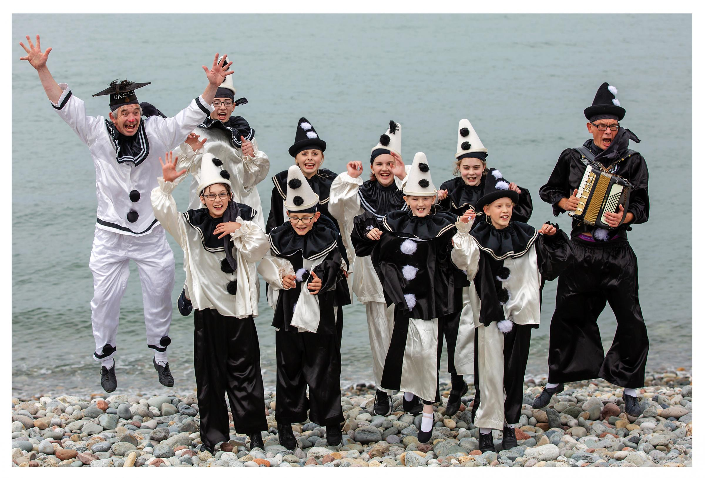 The Jollies, Llandudno's very own youth Pierrot troupe, led by Uncle Tacko (far left) and Mr Macko (far right). Picture: Paul Sampson