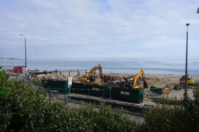 Dismantling work being completed earlier this year. Picture: Patrick Glover
