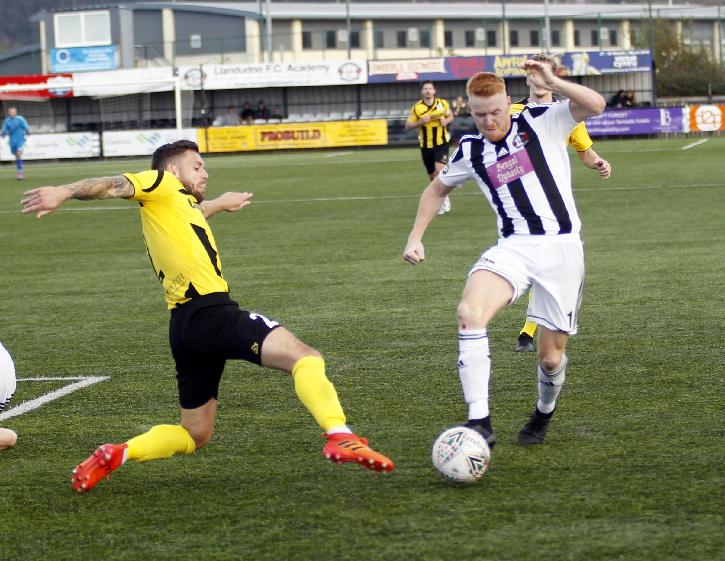 Llandudno suffered defeat at Newtown (Photo by Dave Thomas)