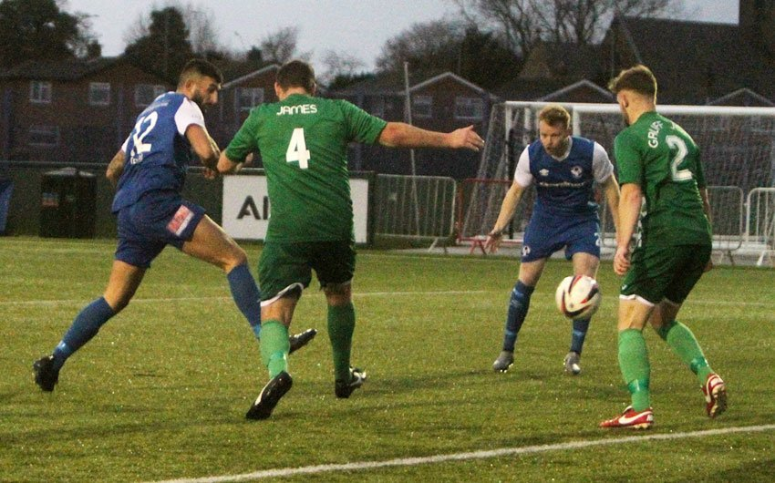 Lewis Buckley nets for Airbus Broughton against Porthmadog
