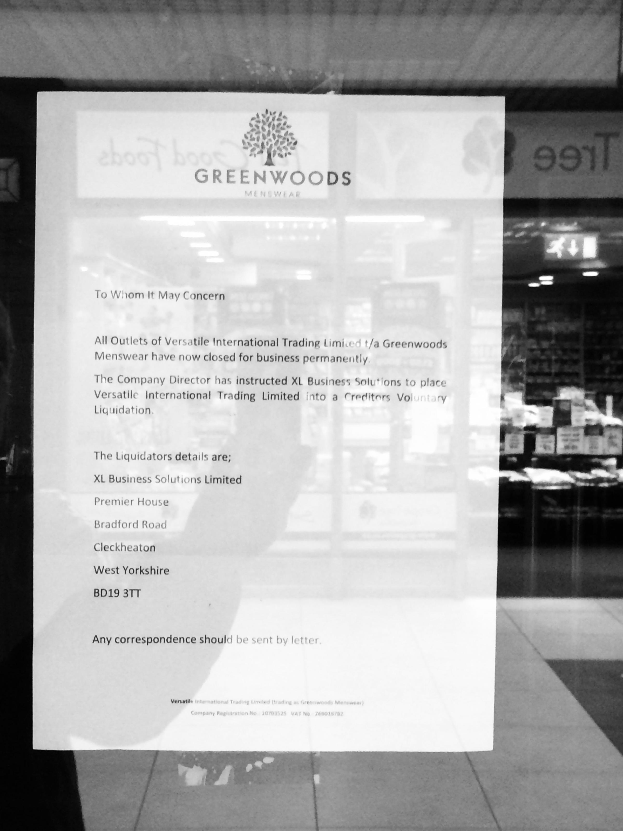 The notice posted on Greenwoods' door. Picture: Kerry Roberts