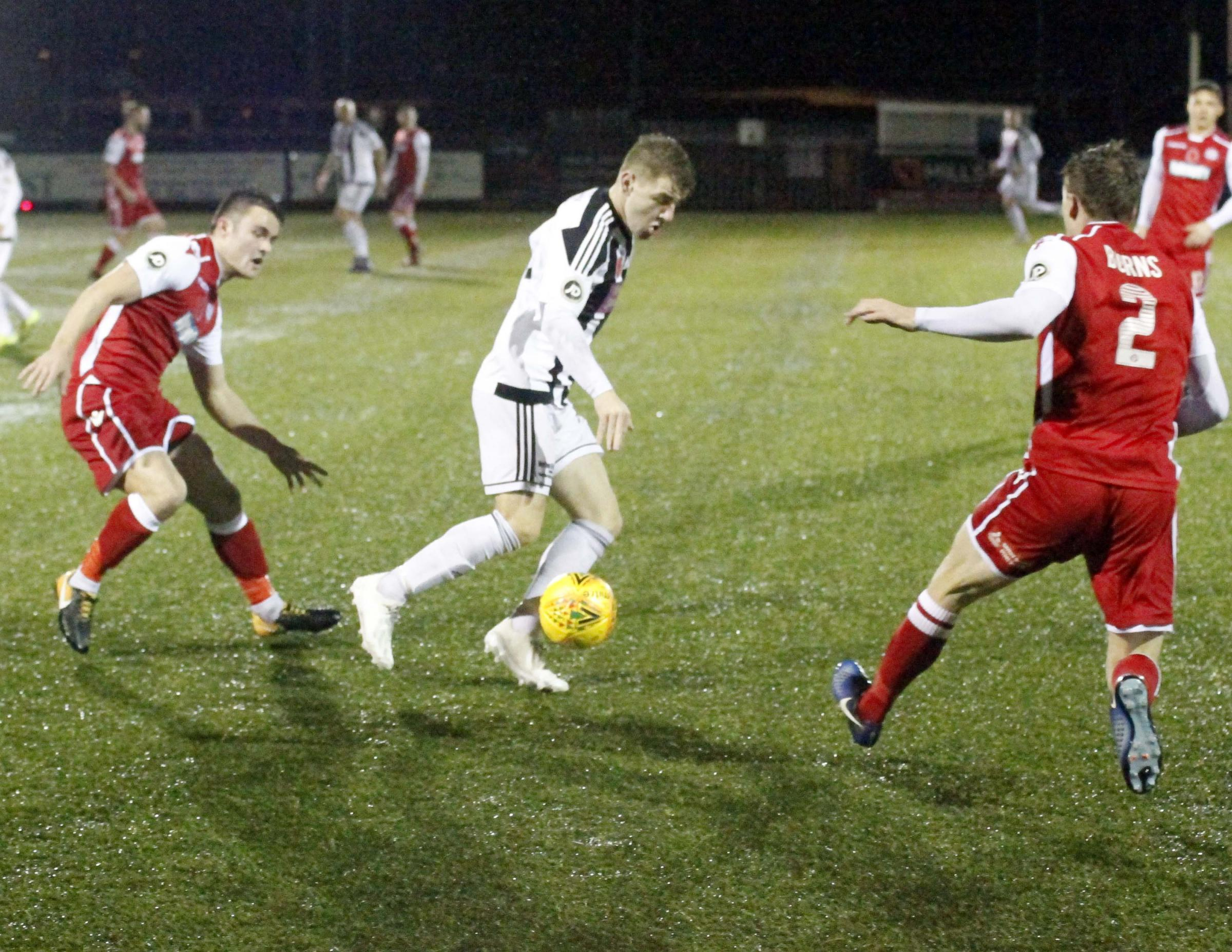 George Harry opened the scoring for Llandudno in their defeat at Llanelli Town (Photo by Dave Thomas)