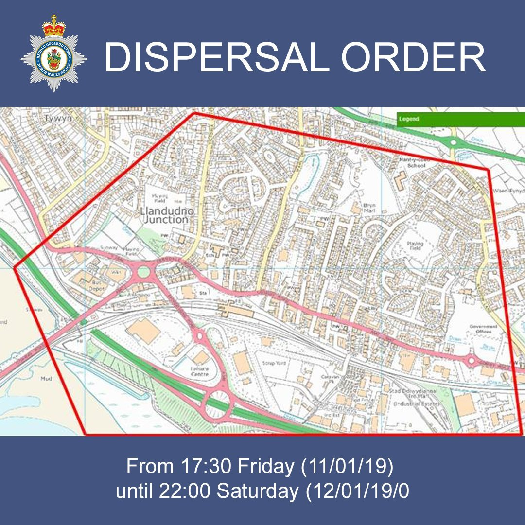The area set to be effected by the sipersal order. Picture: NWP West Conwy Coastal/Twitter