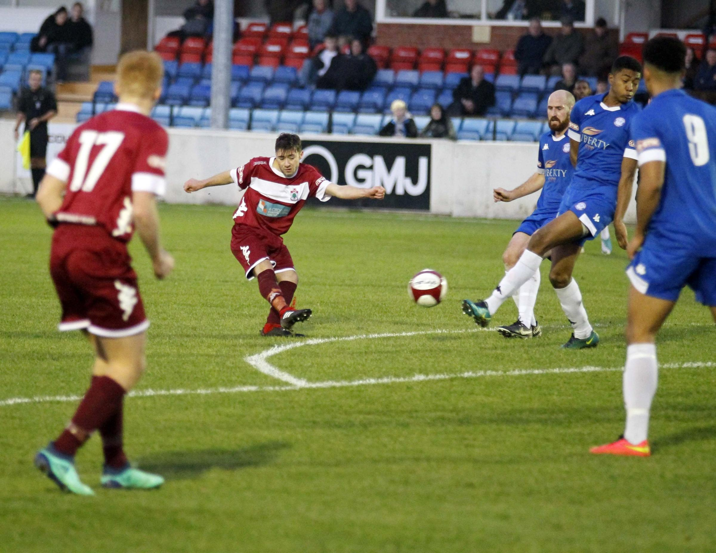 Colwyn Bay playmaker Craig Pritchard in action (Photo by Dave Thomas)