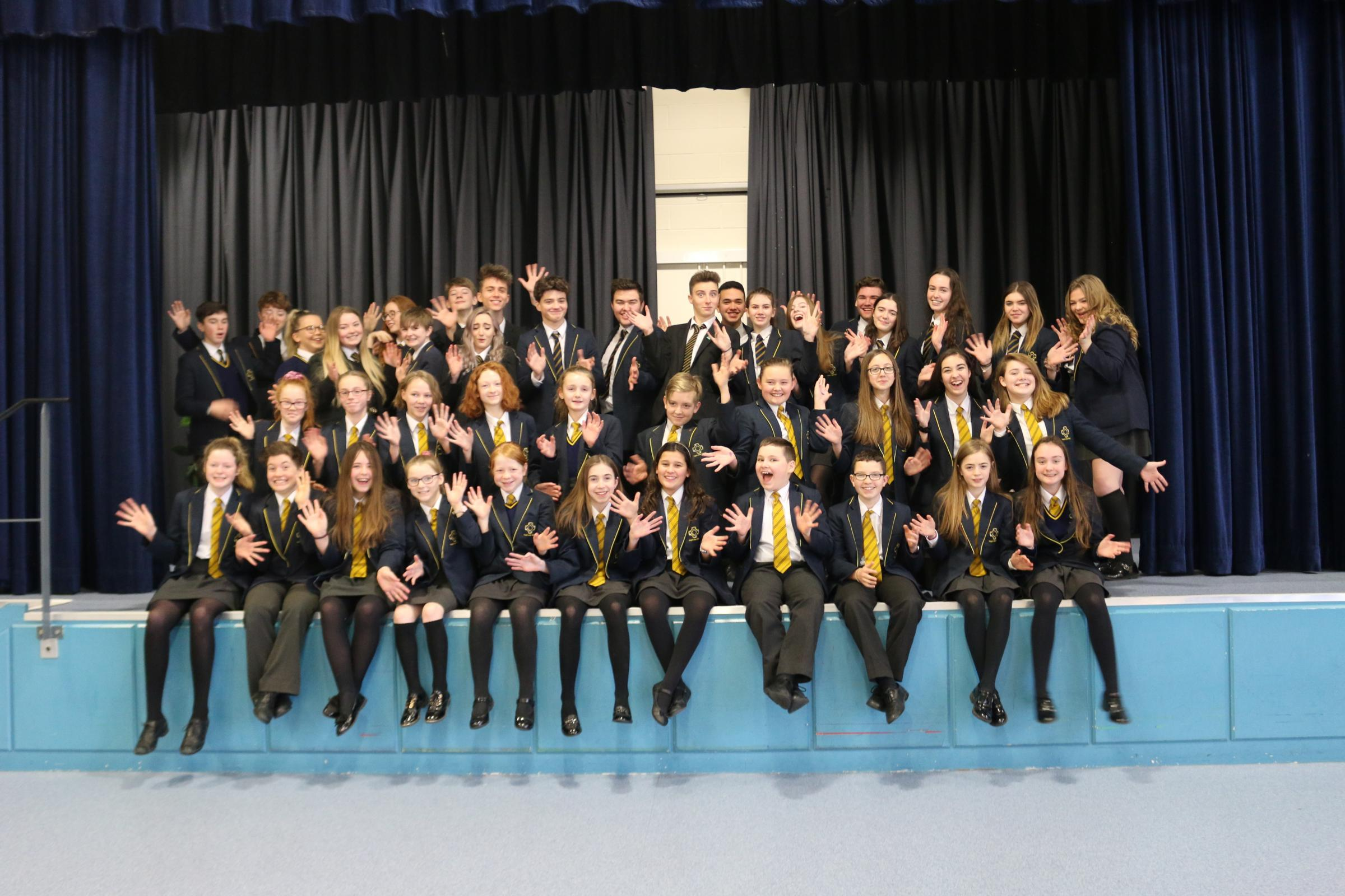 The cast of Ysgol John Bright's production of Guys and Dolls