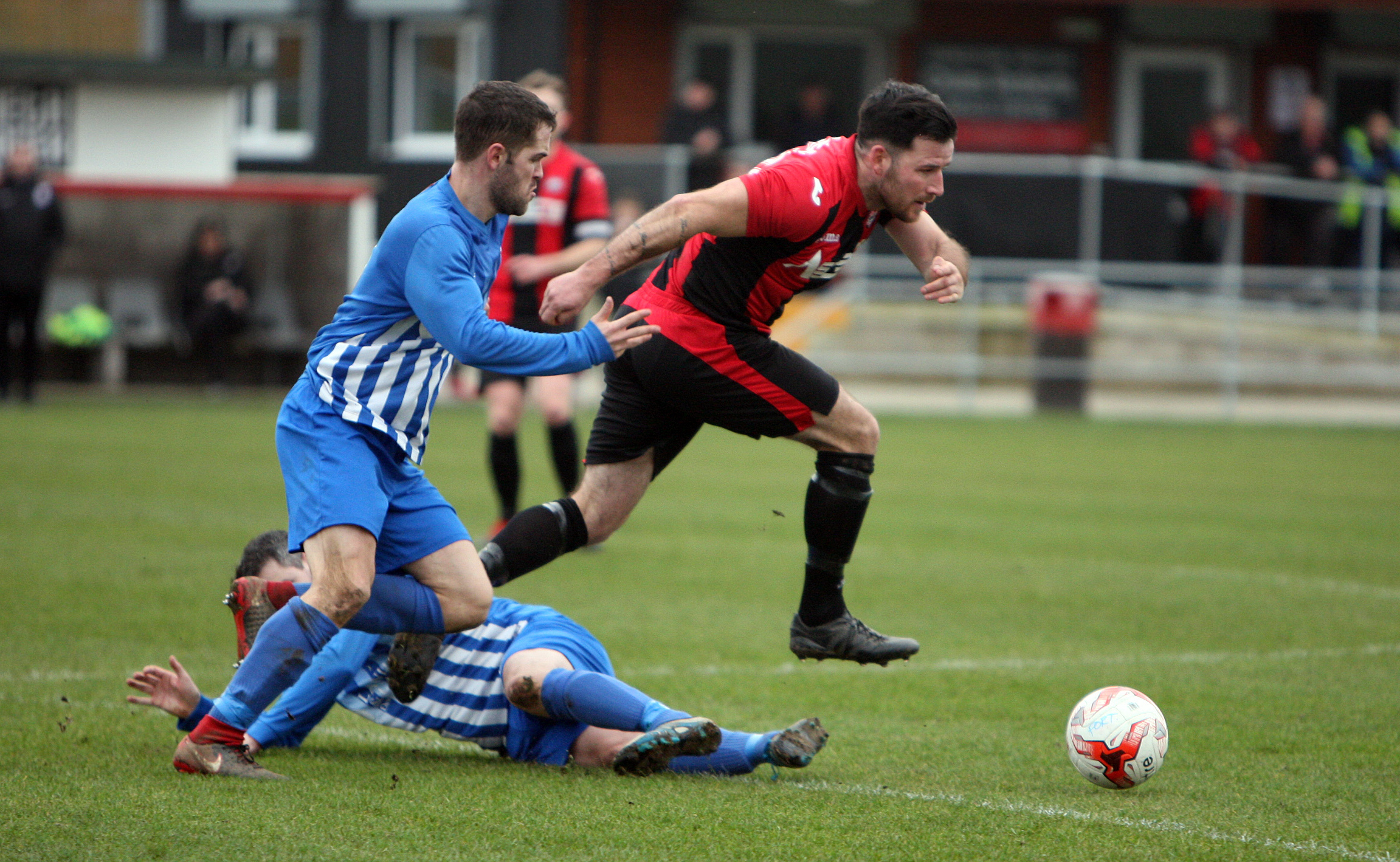 Action from Porthmadog's win over Holyhead Hotspur (Photo by Richard Birch)
