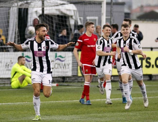 Alun Webb netted Llandudno's first at Cefn Druids (Photo by Dave Thomas)