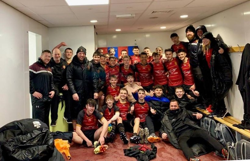 RGC U16s celebrate their win over Scarlets West