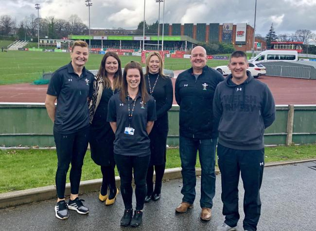 Rachel Taylor (WRU Regional Co-ordinator), Sara Williams (Gr?p Llandrillo Menai learner services project manager), Hannah Hughes (rugby engagement officer), Marc Roberts (WRU regional manager) and Allan James (WRU regional co-ordinator)