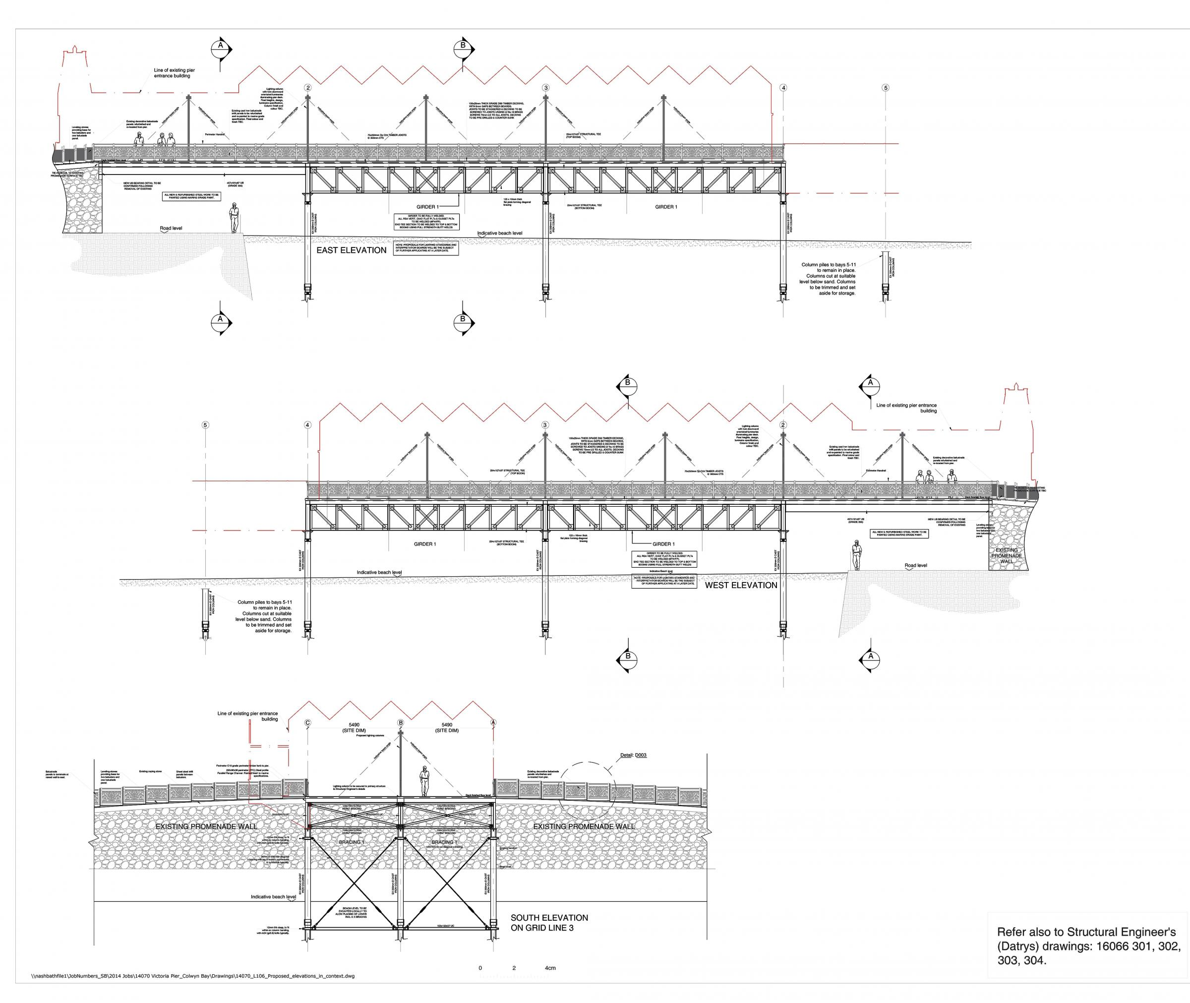 Proposed plans for the truncated pier