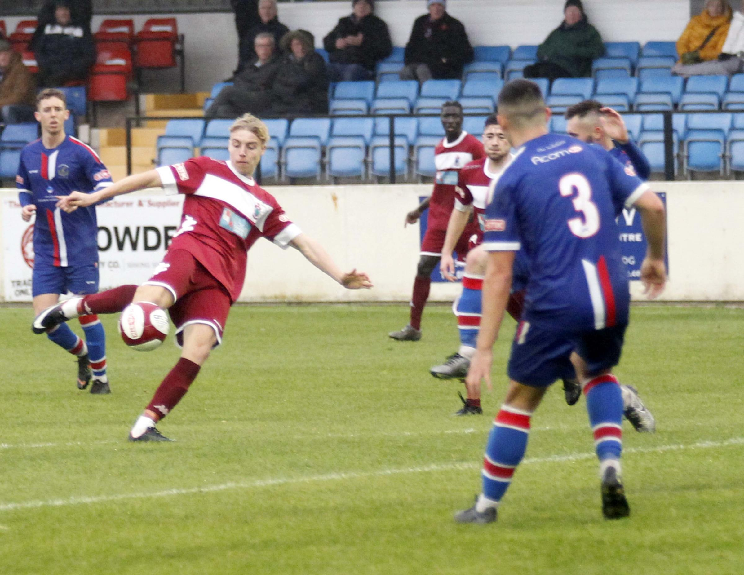 Blake Robinson equalised for Colwyn Bay against Mossley (Photo by Dave Thomas)