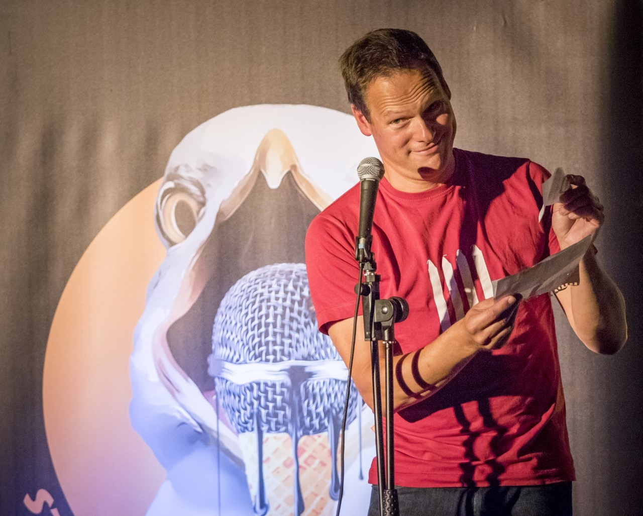 Stand-up at the Seaside's hard working compere David Rothnie