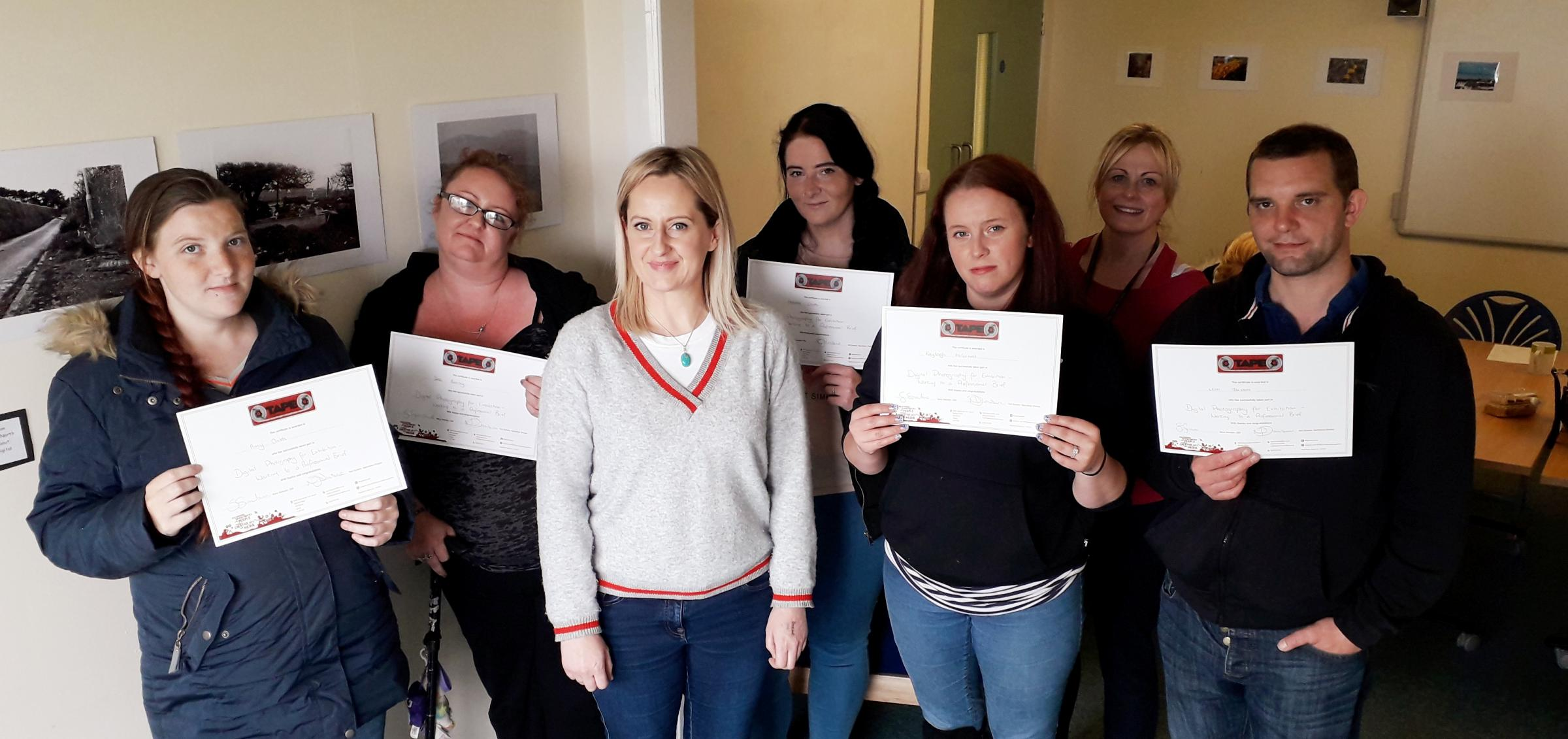 Amy and Natasha Childs, Kirsten Buchanan project manager TAPE creative sparks, Jess Barclay, Kayleigh McCormack, Joanna Howells, parent trainer teacher at Swn y Don, and Leon Jackson. Picture: Kerry Roberts