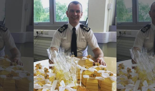 Deputy Chief Constable Richard Debicki with gifts from the Manchester Arena terror attack victim Ellie Taylor, from North Wales
