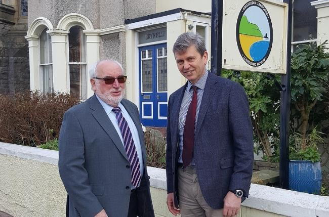 Roy Haley, chairman of trustees of Llandudno Museum and Gallery and Edward Hiller, managing director of Mostyn Estates Ltd