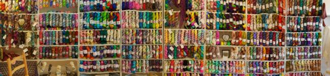 The selection of yarns at the Ewe Felty Thing