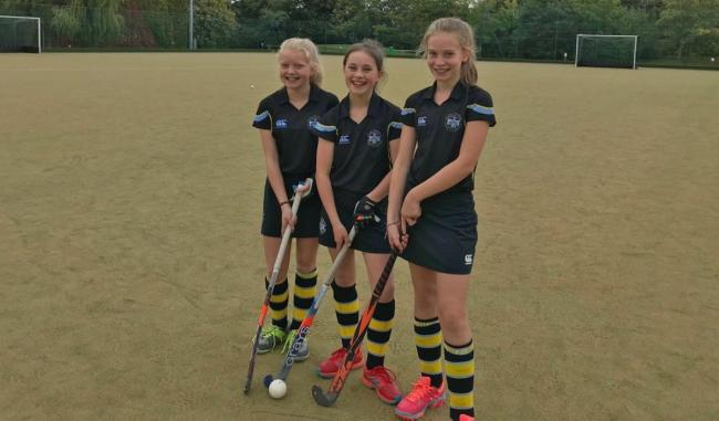 Ariana Milligan, Eve Durrans and Lily Davies, Rydal Penrhos hockey players