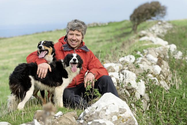Dan Jones, the Great Orme farmer with his dogs